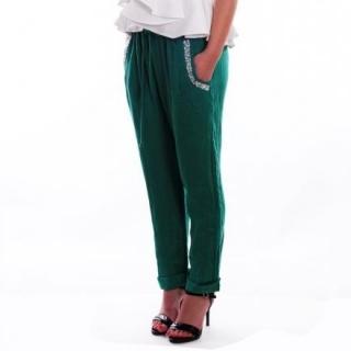 Ленен панталон в зелено