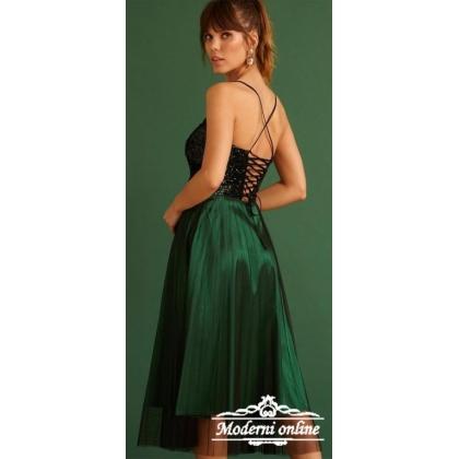 Зелена къса рокля с паети