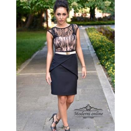 Стилна Черна рокля 60849
