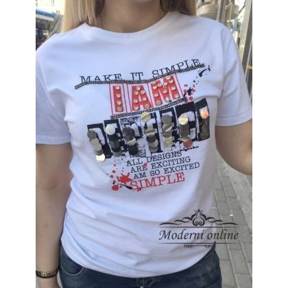 Бяла тениска Simple 8010