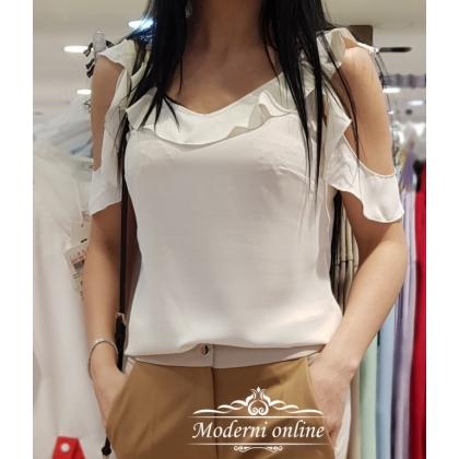 Бяла тениска с падащи ръкави 34264
