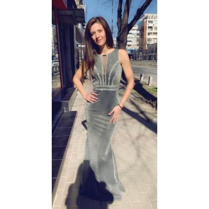 Дълга сребърна рокля с камъни